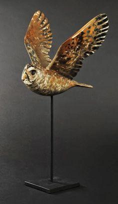 Hib Sabin - Flight of the Owl - Juniper Wood Sculpture Bird Sculpture, Animal Sculptures, Sculpture Ideas, Owl Artwork, Whimsical Owl, Beautiful Owl, Ceramic Owl, Effigy, Woodland Creatures