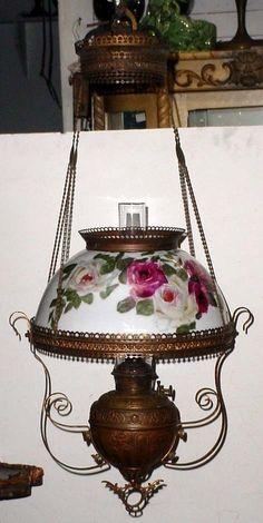 Antique Bradley Hubbard Hanging Oil Lamp Decorative Orange Floral ...
