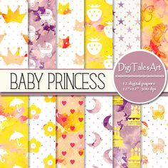 """Colorful watercolor baby girl digital paper pack """"Baby Princess"""" with baby strollers, umbrellas, cats, flowers, hearts, strawberries, moon, butterflies and cake patterns.  Perfect for scrapbooking, making cards, invitations, collages, crafts, web graphics, and so much more. Digital paper pack by DigiTalesArt."""