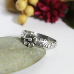 Floral Band Ring/ Patterned Wire With Flower Ring /Silver Stacking Ring/ Rustic Oxidized Silver Stacking Ring by rosajuri on Etsy https://www.etsy.com/listing/227523992/floral-band-ring-patterned-wire-with