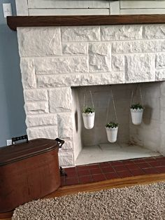 Painted This Beautiful Sandstone Fireplace And Added A Unique Antique Copper Wash Bin