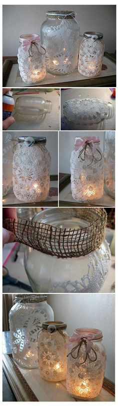 Add doilies, then convert the top into a solar light- use for camping for a pretty light around the camp site. Mason Jar Projects, Mason Jar Crafts, Mason Jar Diy, Wedding Jars, Wedding Centerpieces, Bottles And Jars, Glass Jars, Doilies Crafts, Jar Lanterns
