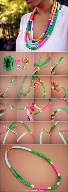 The best DIY projects & DIY ideas and tutorials: sewing, paper craft, DIY. Best DIY Ideas Jewelry: 27 Useful Fashionable DIY Ideas, DIY Utility Rope Necklace -Read Jewelry Crafts, Handmade Jewelry, Oyin Handmade, Diy Collier, Rope Necklace, Necklaces, Diy Ethnic Necklace, Tribal Jewelry, Diy Accessories