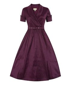Another great find on #zulily! Wine Vanda Belted Surplice Dress #zulilyfinds