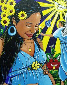 """Un Embarazo Mistico"" 11 x 14 Acrylics on Claybord November 11, 2012-© 2012 Guadalupe Reyes"