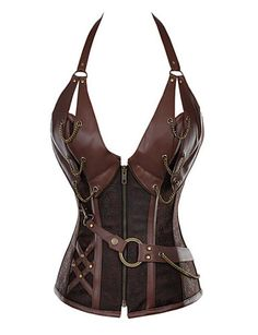 Women's 14 Steel Bone Steampunk Leather Corset with Thong 4572365 2016 – $26.99