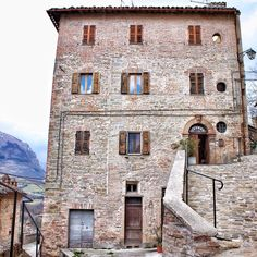 The historical palaces of Montefortino, Le Marche, Central Italy