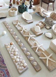 DIY Seashell Wall Art Decor Ideas Mounting Shells on Wood Planks - Coastal Decor Ideas and Interior Seashell Bathroom Decor, Seashell Art, Seashell Crafts, Beach Crafts, Bathroom Wall, Bathroom Ideas, Diy Wall Art, Wall Art Decor, Wall Art Crafts