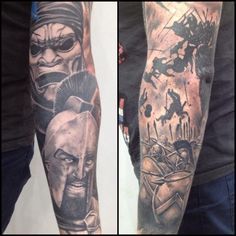 300 Tattoo Sleeve Black and Grey Realism
