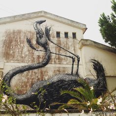 ROA Flamingo street art Lagos, Algarve, Portugal || Read my blogpost here: http://www.blocal-travel.com/street-art/lagos-street-art-guide/