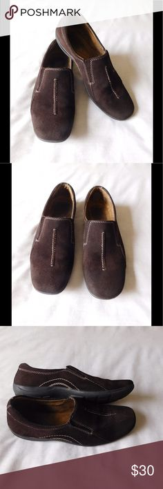Real Suede! Brown Loafers W/ Elastic System These pair of loafer shoes are really cute and adorable. Soft and comfy material. Gorgeous color and exquisite design. Size 9.0 M - Excellent condition. Save $$$ on bundles. Naturalizer Shoes Flats & Loafers