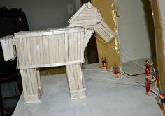 Wordless Wednesday Trojan Horse Made Using Popsicle Sticks History Projects, School Projects, Projects For Kids, Project Ideas, Craft Ideas, Trojan Horse, Trojan War, Diorama, Tapestry Of Grace