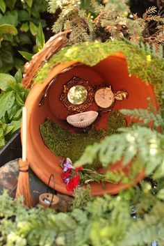 How I love this fairy garden in a clay pot--the little mirror, the clock, the sink, and broom.  Love it!  Love it. From My Three Rivers Home, entered on the Magic Onions site for the 2012 contest.