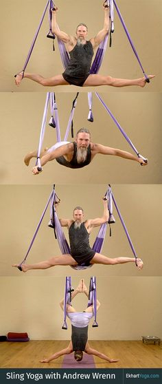 Ekhart Yoga teacher Andrew Wrenn talks about sling/aerial yoga - links to free and premium sling yoga classes.