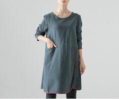 Fashion Solid Green Dress Round Collar Loose Fit Plus Size Dress Long Sleeve Cotton Dress Fall Fashion Dress