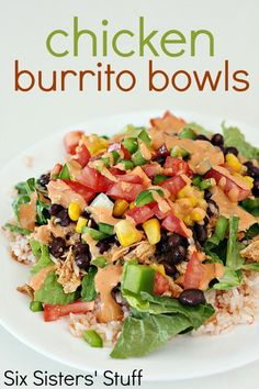 Chicken Burrito Bowls from SixSistersStuff.com   Try this veggie-filled, delicious recipe for a healthy lunch or dinner idea!