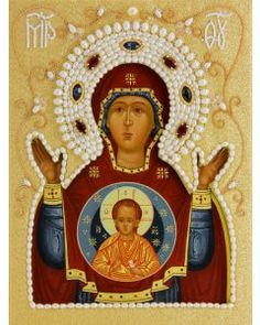 icon of the mother of god of the sign in oklad