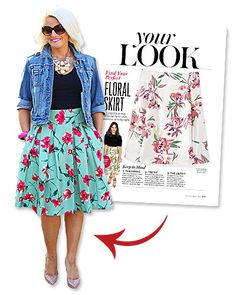 """Meredith Govea of Dallas, TX landed in our sizzling hot Salma Hayek-covered July issue thanks to her bright floral skirt. """"I typically wear this skirt with a bright blouse, but the photo of Rashida Jones in Find Your Perfect [April 2013] gave me the idea to go with black,"""" says Govea. """"I love that the contrast lets the floral print really shine."""" You can see more of Meredith's fun summer looks on her blog, Create That Outfit."""