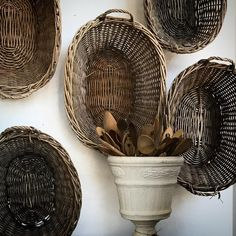 I am instantly drawn to the beautiful patina of vintage baskets. Farmhouse Baskets, Vintage Baskets, Home Goods, Objects, Rustic, Wicker Baskets, Neutral, Beautiful, Country