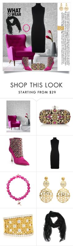 """""""What to Wear"""" by shoecraycray ❤ liked on Polyvore featuring Graham & Brown, Marchesa, Manolo Blahnik, Victoria Beckham, Sydney Evan, Faraone Mennella by R.F.M.A.S. and Jack Kelege"""