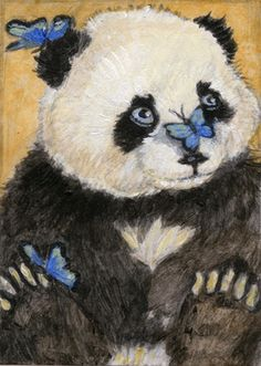 Art Painting Panda Butterflies ACEO Collectible Christmas Gift by Mariewhite | eBay