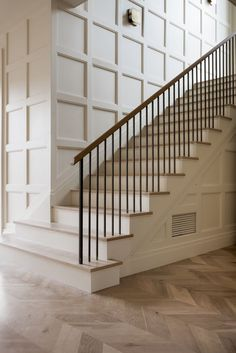 3 Simple Tricks Can Change Your Life: Wainscoting Stairs Pictures wainscoting stairs pictures.Wainscoting Staircase Diy how to install wainscoting bathroom. Entry Stairs, Staircase Railings, House Stairs, Stairways, Banisters, Stairway Railing Ideas, Staircase Landing, Wood Railing, Staircase Remodel
