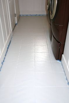 painted tile floor using b-i-n primer and behr concrete & garage