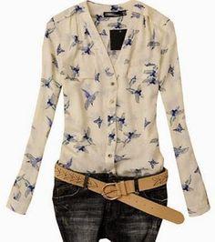 Lovaru Women's Fashion Elegant Bird Print Blouse Long Sleeve Casual Slim Shirts