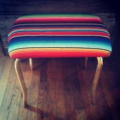 Mexican blanket upholstered stool