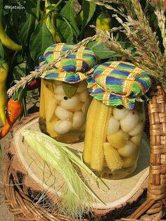 Bébikukorica, gyöngyhagyma, erős paprika és uborka savanyítva, télire