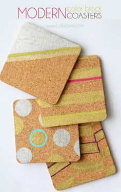Easy painted modern color block coasters, so cute! Great gift idea! @Lolly Jane {lollyjane.com}