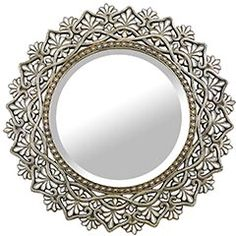 Round Shell Mirror  $299.95  Mirror, mirror on the wall. Inlaid mother of pearl makes this the fairest of them all.  36.75 Diameter  *Want this sooo bad!!! Unique Mirrors, Beautiful Mirrors, Round Mirrors, Contemporary Mirrors, Mirror 3, Entryway Mirror, Mother Of Pearl Mirror, My Dream Home, Decoration