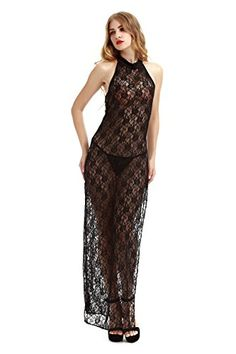 Darlinglove Women's Wedding Gift Sexy Sheer Lingeries Gown Long Dress Lace Babydoll Sleepwear Black. One size fits most means S,M,L flexible. 100% BRAND NEW & High quality. Hand Wash Line Dry. Package include: 1 X Dress, 1 X Thong. Occasion: Summer, Autumn, Bedtime.
