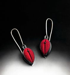 Red+Teardrop+Earrings by Grace+Stokes: Polymer+Clay+&+Silver+Earrings available at www.artfulhome.com