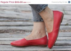 Valentines Day Sale 20%, Free Shipping, Red Leather Shoes, Red Shoes, Red Loafers , Flat Shoes, Coral Shoes, Red Slip Ons