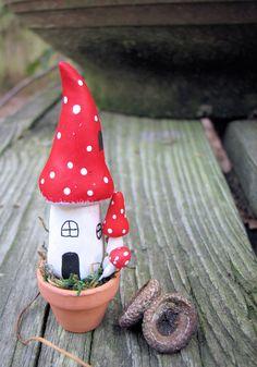 Miniature Fairy Mushroom House, in Tiny Clay Pot. $16.00, via Etsy.