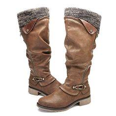e9e95b8ed1598 Gracosy Cuissardes Femmes Bottes Hautes Hiver en Cuir Synthétique avec  Fourrure à Talons Plats Bas Chaussures