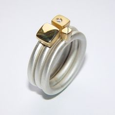 Silver ring set with diamond & square gold detail | Contemporary Rings by contemporary jewellery designer Paul Finch