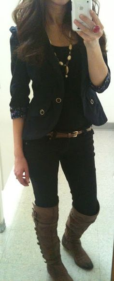 Lilly's Style:  Blazer: Marshalls, Pants: Mudd/Kohls, Tank: Target, Boots: Sam Edelman, Necklace: Express, Ring: The Limited