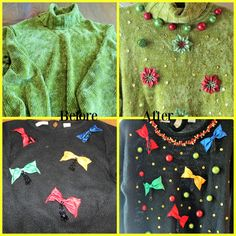Get out your glue gun and come check out how to make an ugly-ish sweater a winner in your next ugly sweater competition. No sewing required! ~ ThisScatteredLife.com