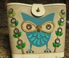 Enid Collins 'Night Owl' Jeweled Purse Handbag
