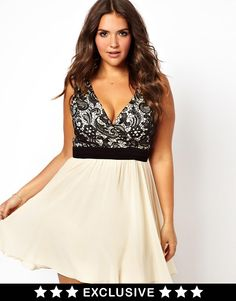 Little Mistress | Little Mistress Lace Body Skater Dress at ASOS