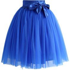 Chicwish Amore Tulle Skirt in Sapphire Blue ($54) ❤ liked on Polyvore featuring skirts, bottoms, blue, faldas, blue skirt, blue knee length skirt, tulle skirt, elastic waist skirt and layered skirt