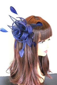 Navy Blue Sinamay Fascinator with feathers secures with comb. Perfect Piece for a wedding, tea party or any other special occasion. -Ready to ship!