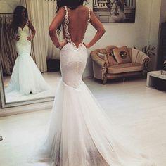 J155 Backless Long Mermaid Wedding Dresses, Spaghetti Straps Wedding Dress, Cheap Tulle Wedding Dress 2016