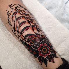 illustratedgentleman:  Walk in Saturday #ship #traditional #tattoo