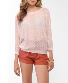 Forever21 : Sheer Dotted Swiss Raglan Top | $17.80 - How great would this be to layer onto a Fairy-Kei coordinate?!? <3