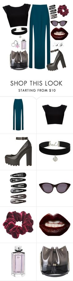 """Midnight"" by claire8ken ❤ liked on Polyvore featuring Topshop, Alice + Olivia, Clips, Opening Ceremony, Wild Pair, Manic Panic NYC, Gucci and Kartell"