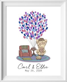 Carl & Ellie Up House Chairs wedding guest book. Great for Disney and Pixar fan weddings. Similar to fingerprint tree guestbook alternative