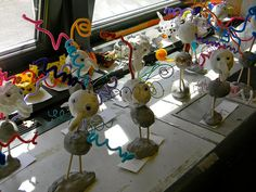 our dodo birds from last year...really fun project. Mix of clay, model magic, wire and pipe cleaners...use styrofoam ball for belly and head, so they aren't heavy. The kids loved it.